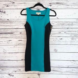 Michael Kors Black & Teal Bodycon Mini Dress